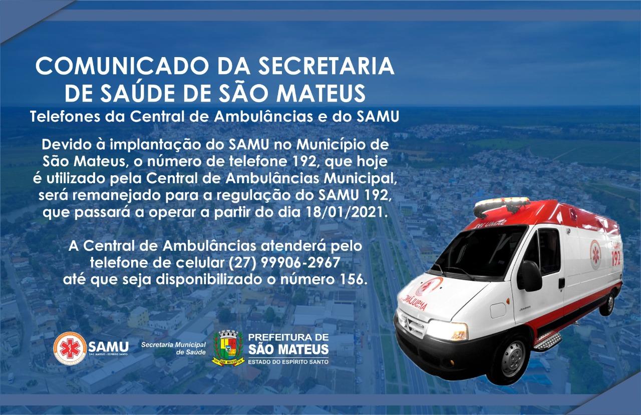 SAMU PASSA A ATENDER PELO NÚMERO 192 A PARTIR DE SEGUNDA-FEIRA (18)