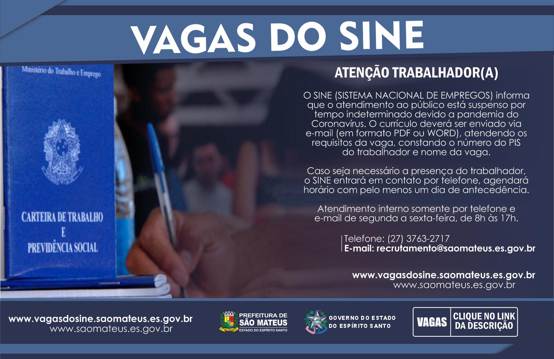 COMUNICADO SINE SÃO MATEUS: ATENÇÃO TRABALHADOR(A)