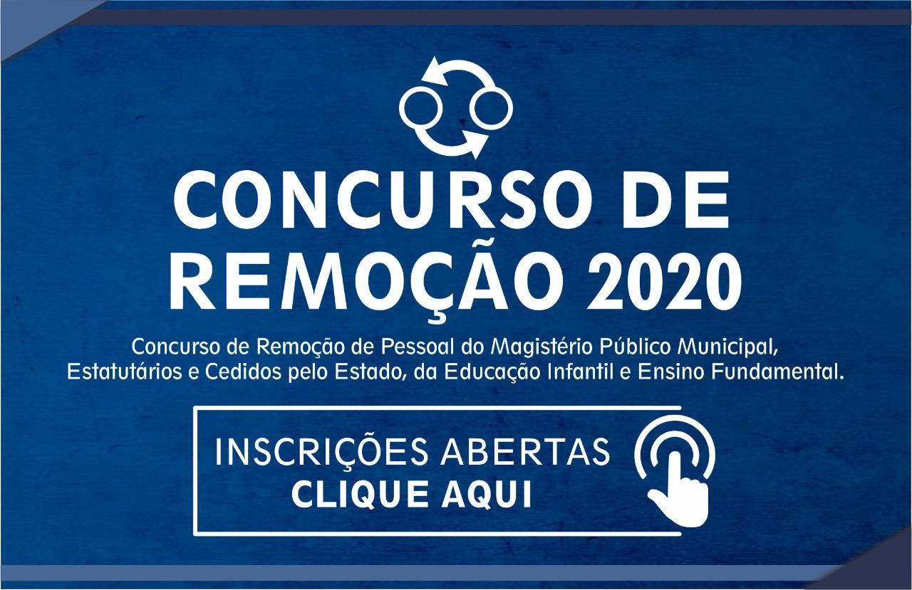 INSCRIÇÕES ABERTAS PARA CONCURSO DE REMOÇÃO 2020