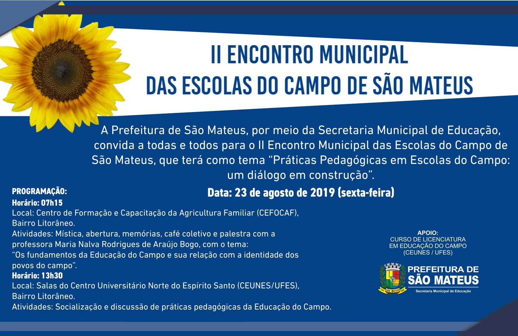 II ENCONTRO MUNICIPAL DAS ESCOLAS DO CAMPO DE SÃO MATEUS