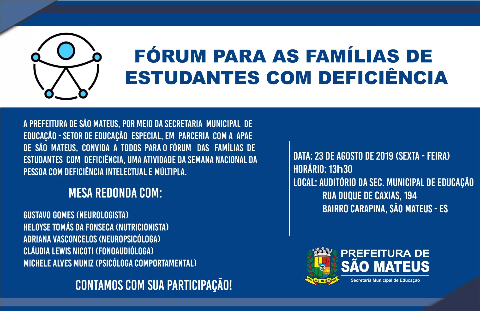 FÓRUM PARA AS FAMÍLIAS DE ESTUDANTES COM DEFICIÊNCIA