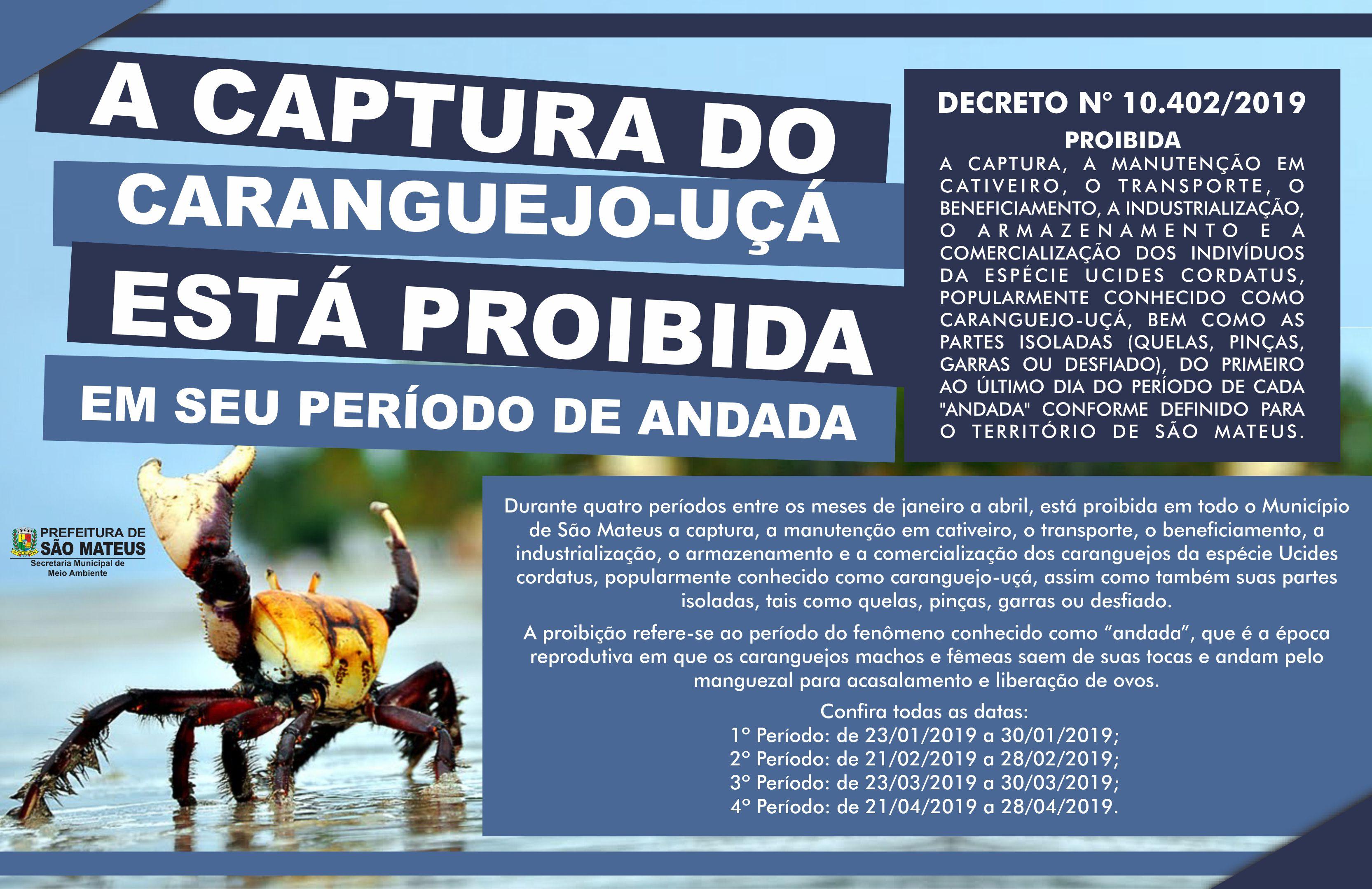 PMSM informa o período de defeso do caranguejo-uçá