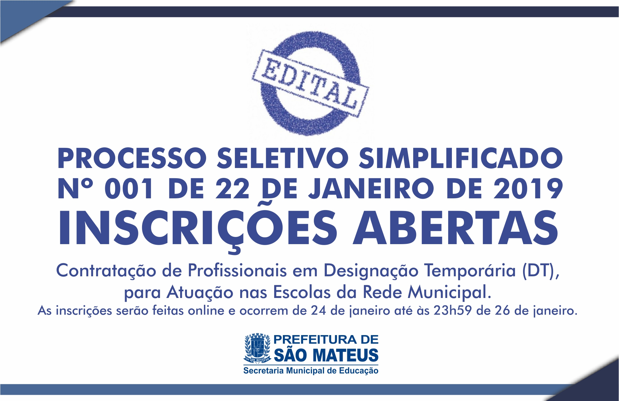 Prefeitura de São Mateus da Início as Inscrições para Processo Seletivo