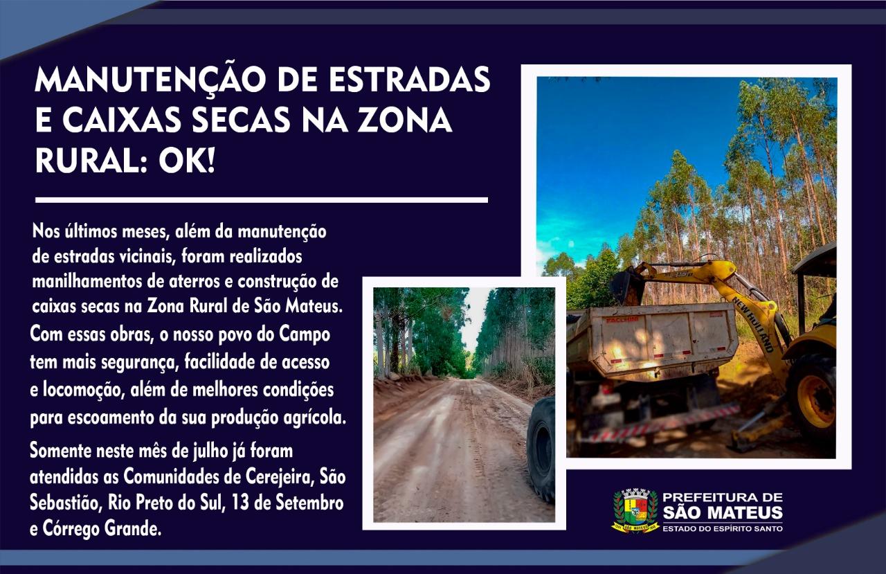 MANUTENÇÃO DE ESTRADAS E CAIXAS SECAS NA ZONA RURAL: OK!