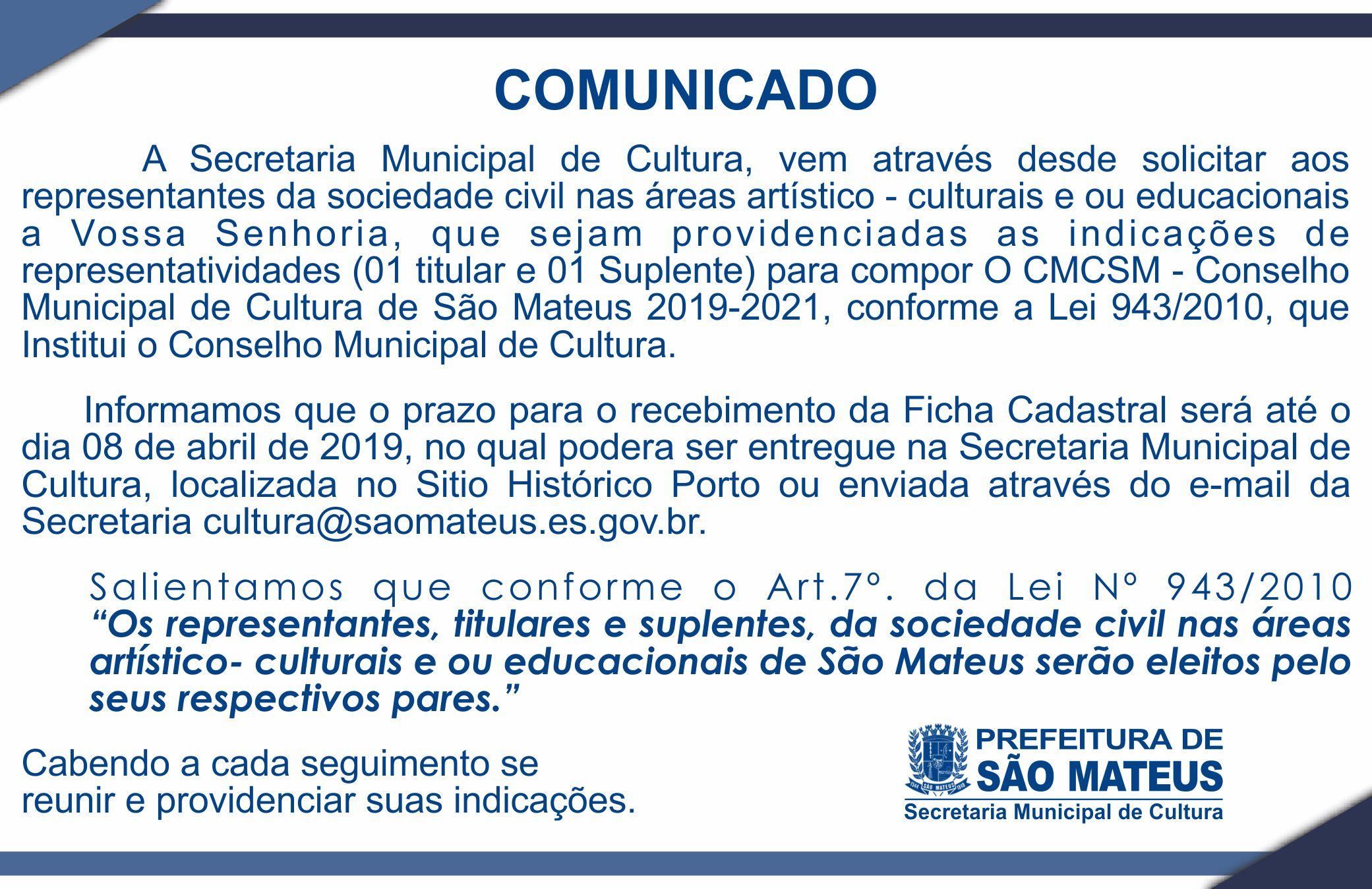 COMUNICADO -  COMPOSIÇÃO DO CONSELHO MUNICIPAL DE CULTURA