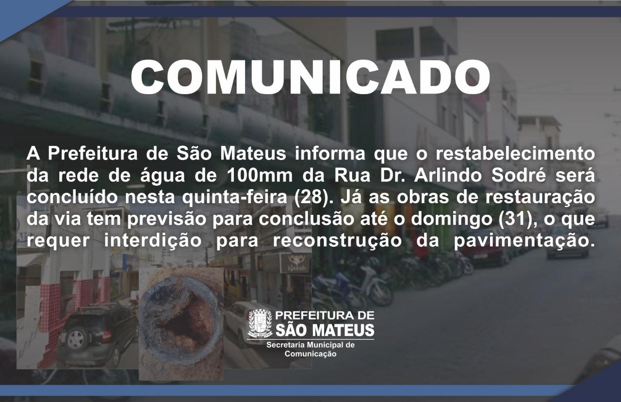 COMUNICADO - OBRAS NA RUA DR. ARLINDO SODRÉ