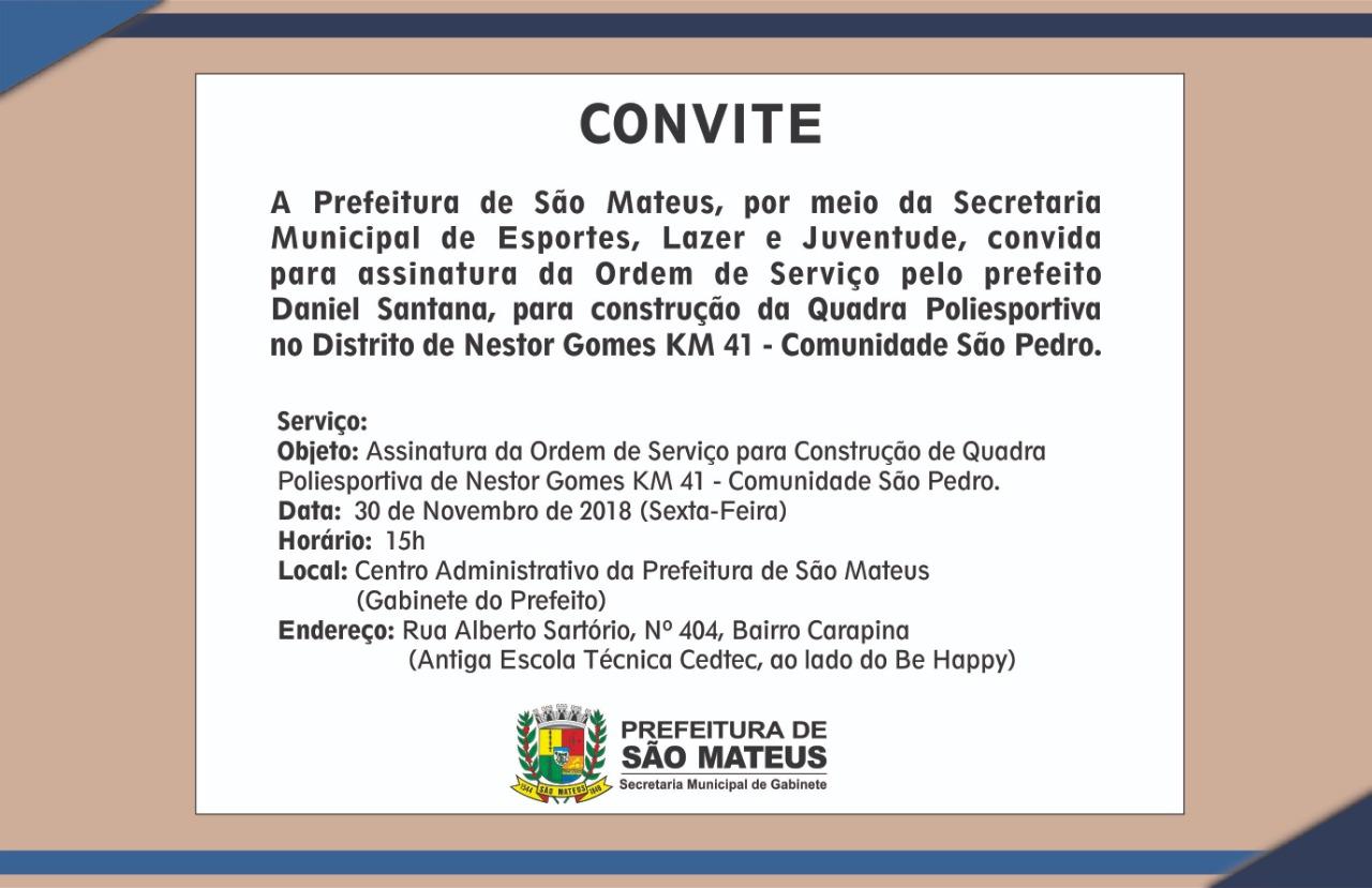 Prefeito assina ordem de serviço para construção de Quadra Poliesportiva