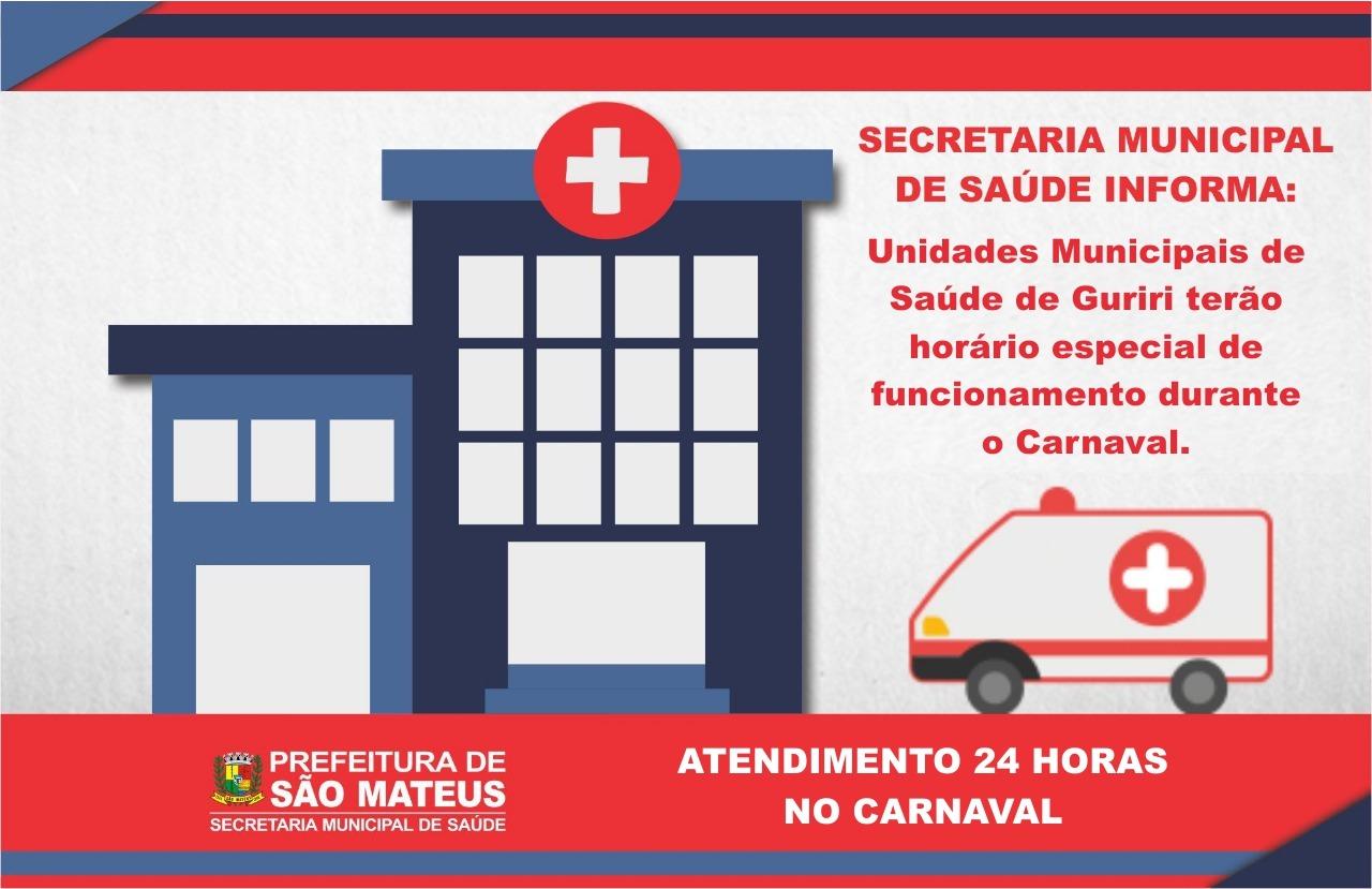 Unidades Municipais de Saúde de Guriri terão horário especial durante o Carnaval