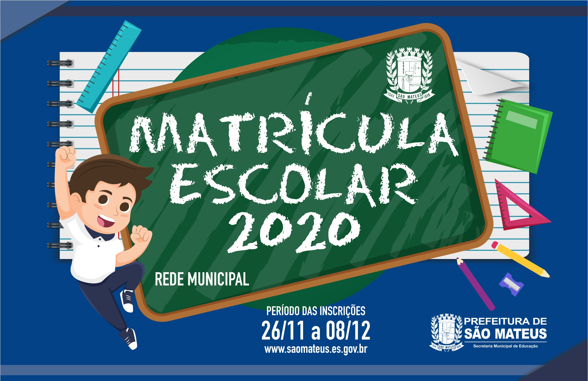 MATRÍCULAS PARA A REDE MUNICIPAL COMEÇAM NESTA TERÇA-FEIRA
