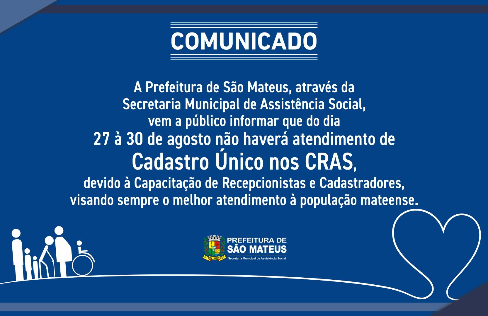 COMUNICADO - CRAS SÃO MATEUS
