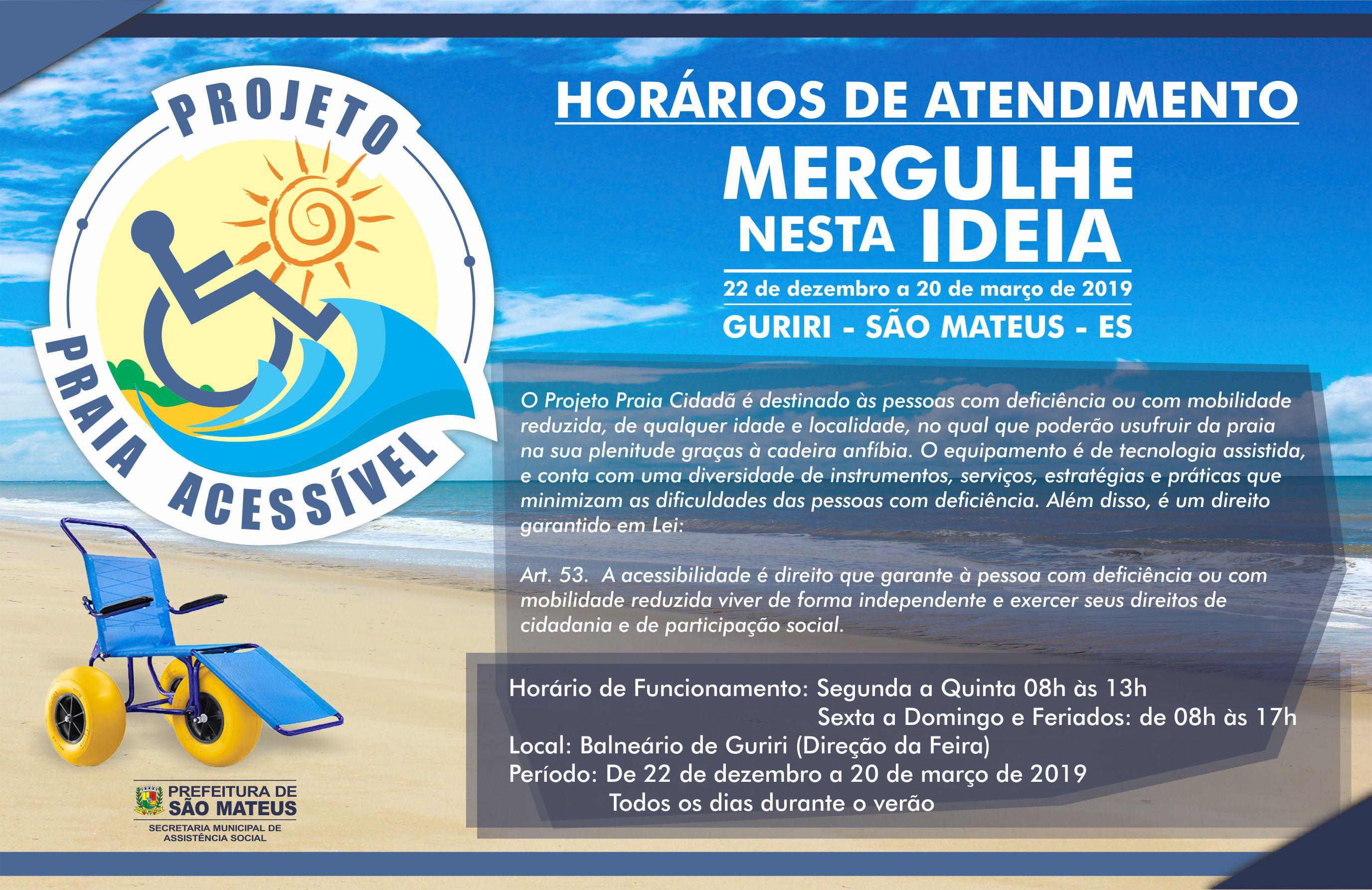 PMSM Divulga os Horários de Atendimento do Praia Acessível