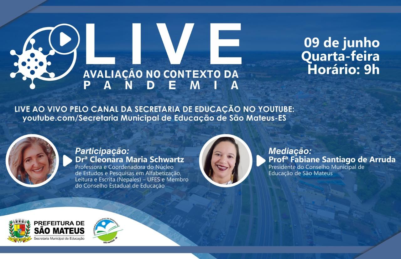 """EDUCAÇÃO DE SÃO MATEUS PROMOVE LIVE SOBRE """"AVALIAÇÃO NO CONTEXTO DA PANDEMIA"""""""