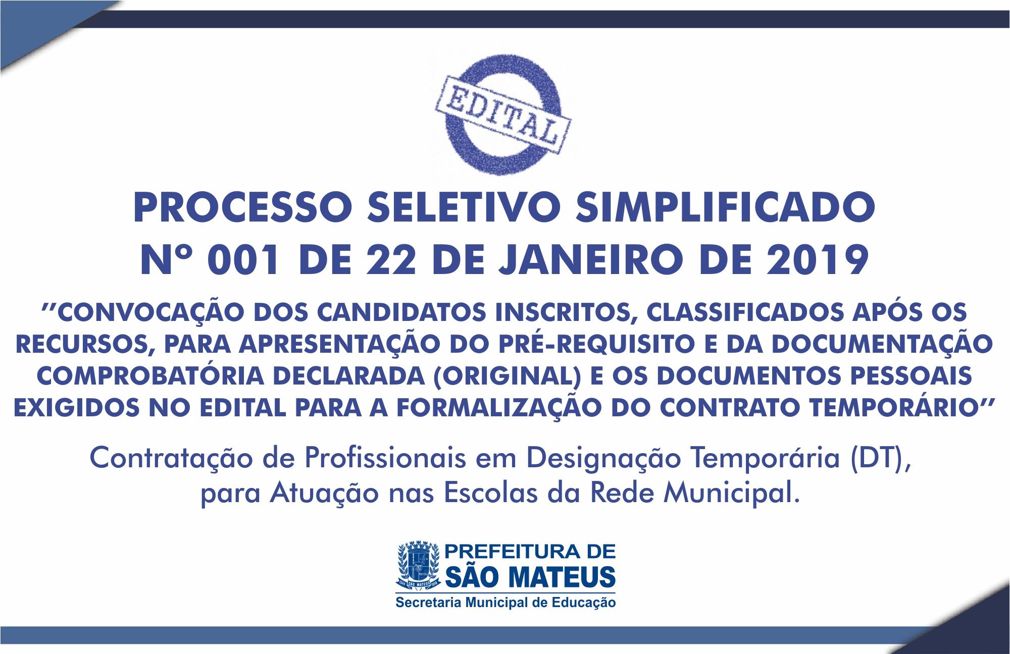 Divulgada A Convocação Nº 001 - Dos Candidatos Para Entrega De Documentos - Processo Seletivo N° 001/2019