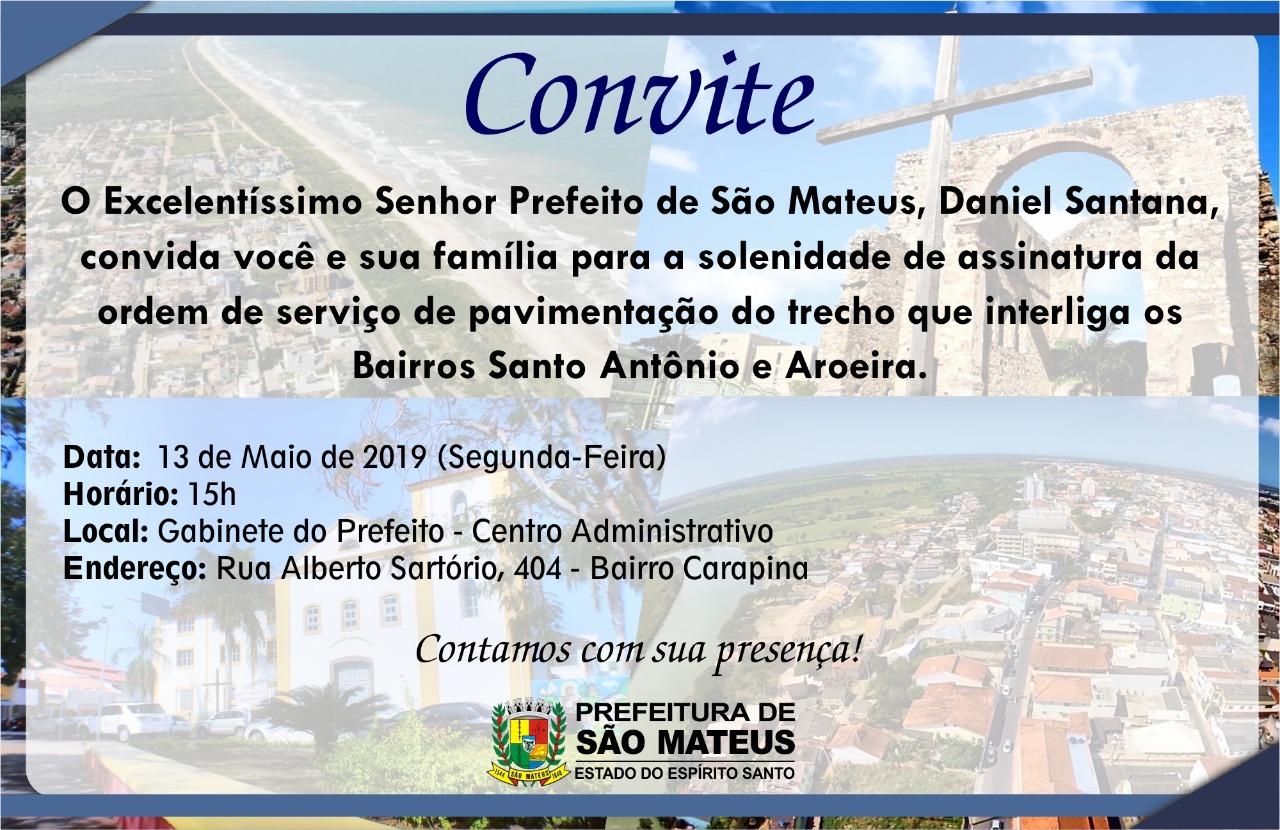 CONVITE - ASSINATURA DE ORDEM DE SERVIÇO PARA PAVIMENTAÇÃO DA AVENIDA DOM JOSÉ DALVIT