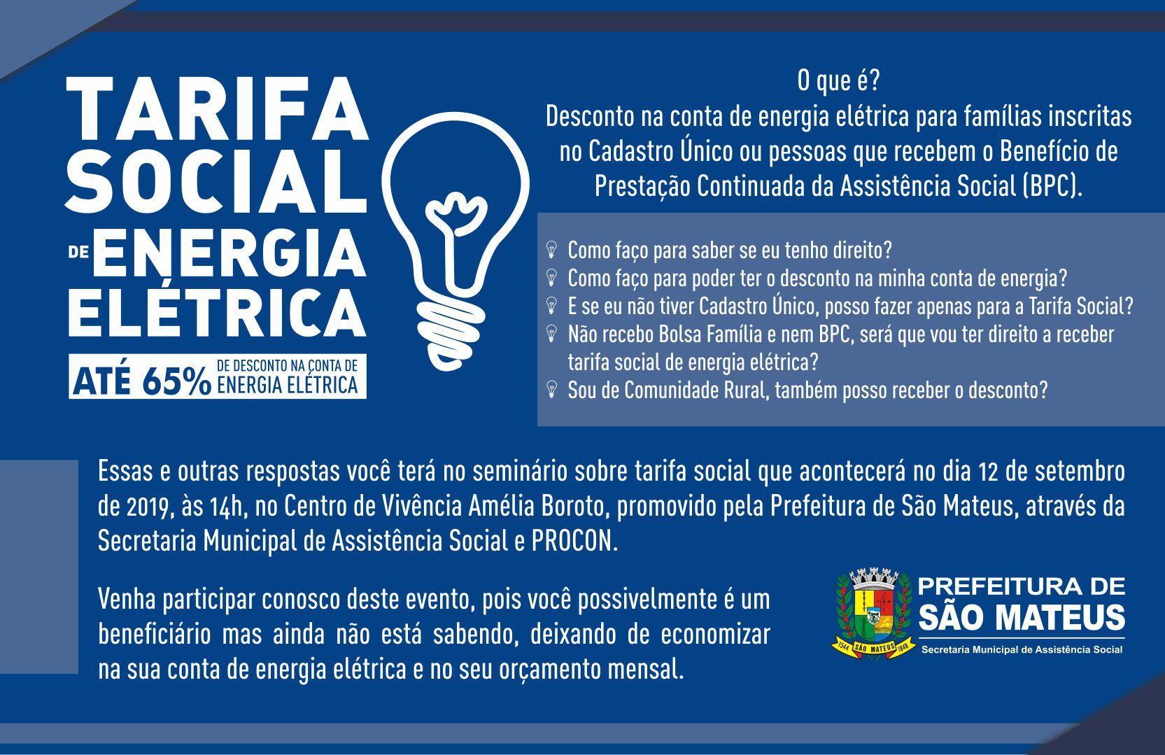 SEMINÁRIO SOBRE TARIFA SOCIAL DE ENERGIA ELÉTRICA