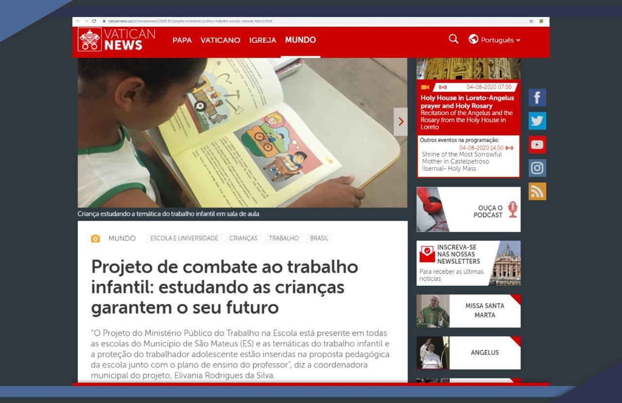 PROJETO DA PREFEITURA DE SÃO MATEUS EM PARCERIA COM O MPT É DESTAQUE NO SITE DO VATICANO