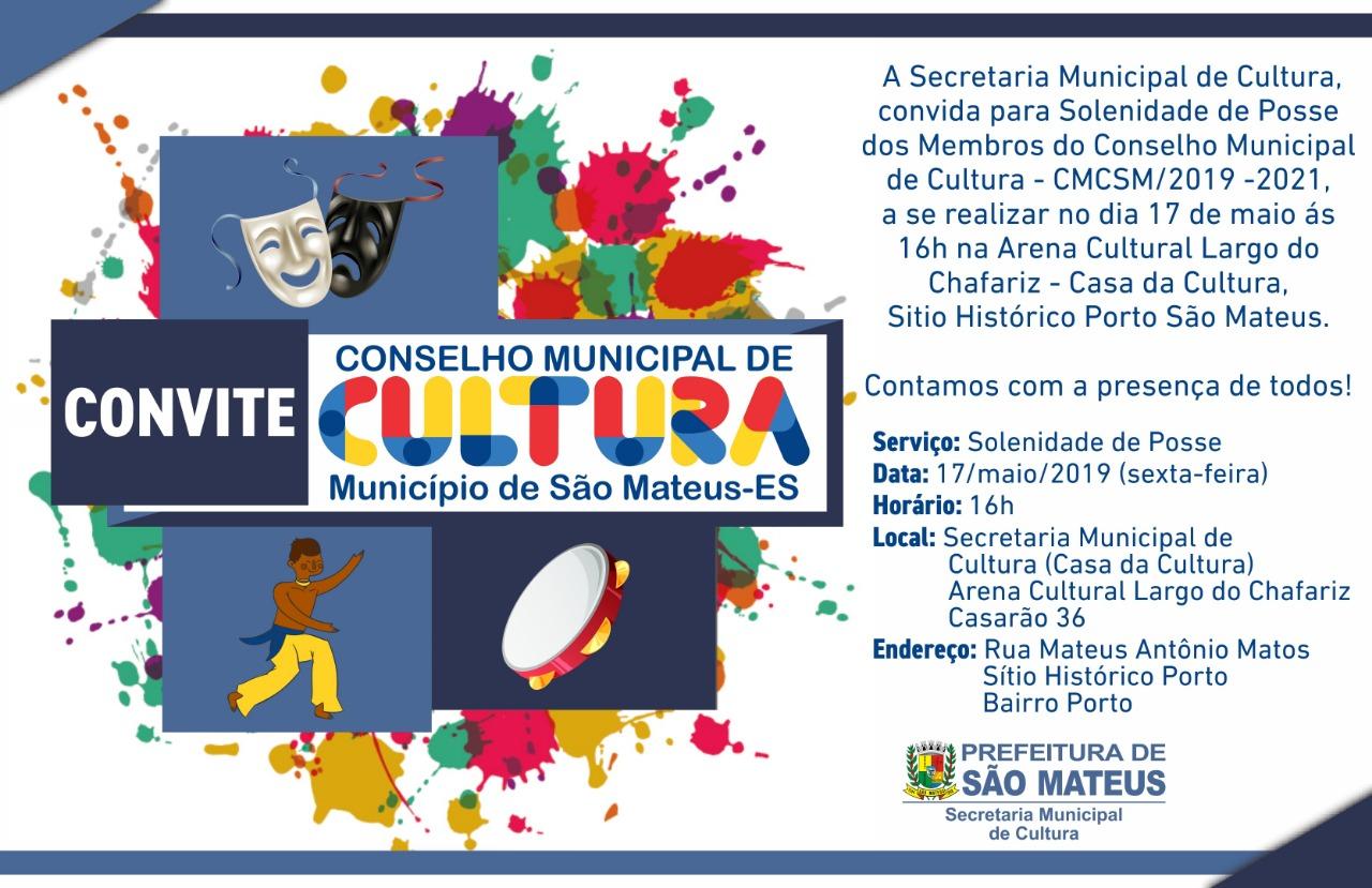 CONVITE - SOLENIDADE DE POSSE DOS MEMBROS DO CONSELHO MUNCIPAL DE CULTURA