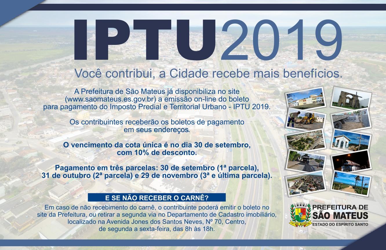 BOLETO DO IPTU 2019 JÁ ESTÁ DISPONÍVEL ON-LINE