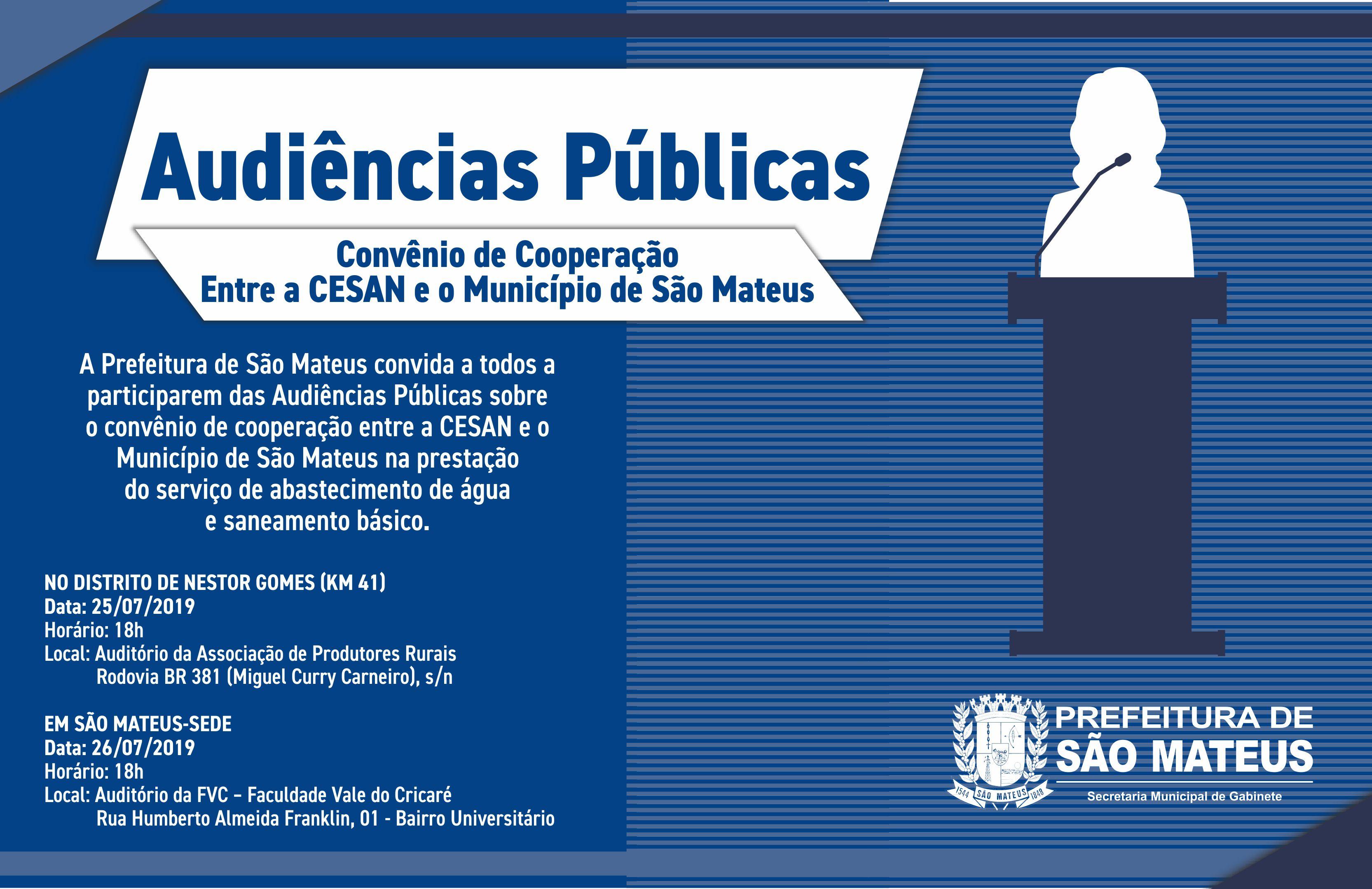 AUDIÊNCIAS PÚBLICAS SOBRE CONVÊNIO DE COOPERAÇÃO ENTRE CESAN E MUNICÍPIO