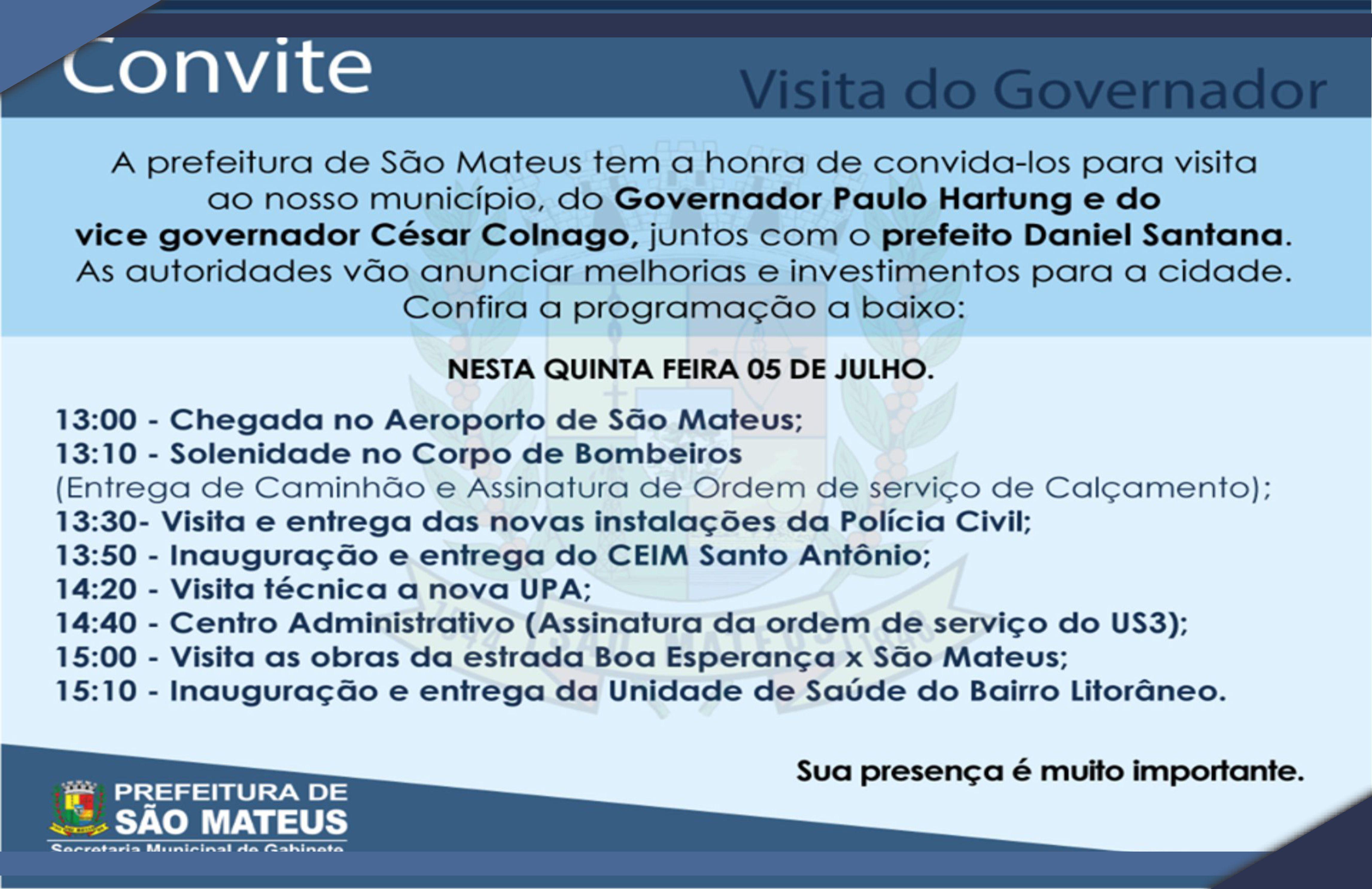 Visita do Governador Paulo Hartung nessa quinta-feira (05) para assinatura de ordens de serviços
