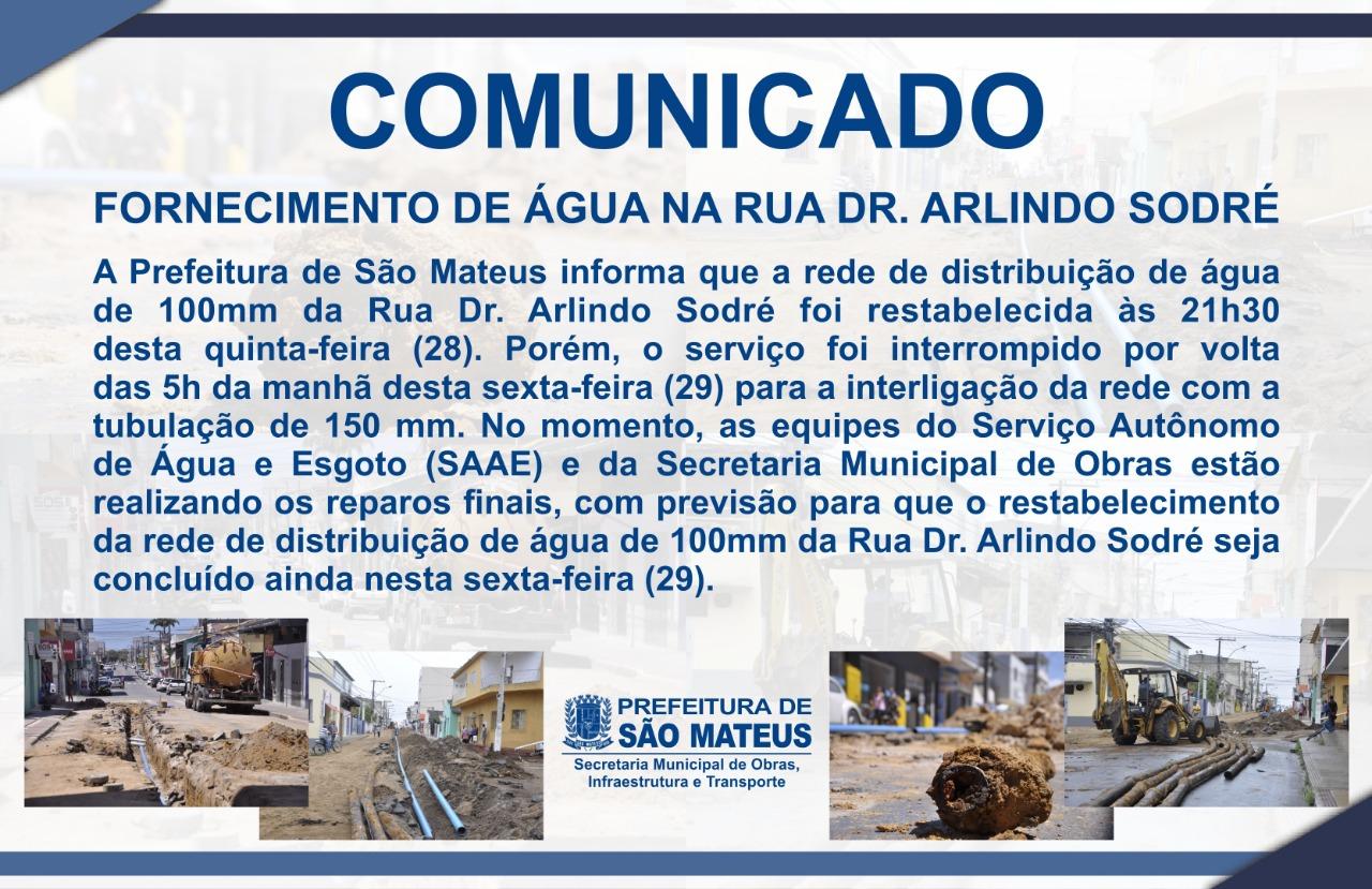 COMUNICADO – FORNECIMENTO DE ÁGUA NA RUA DR. ARLINDO SODRÉ
