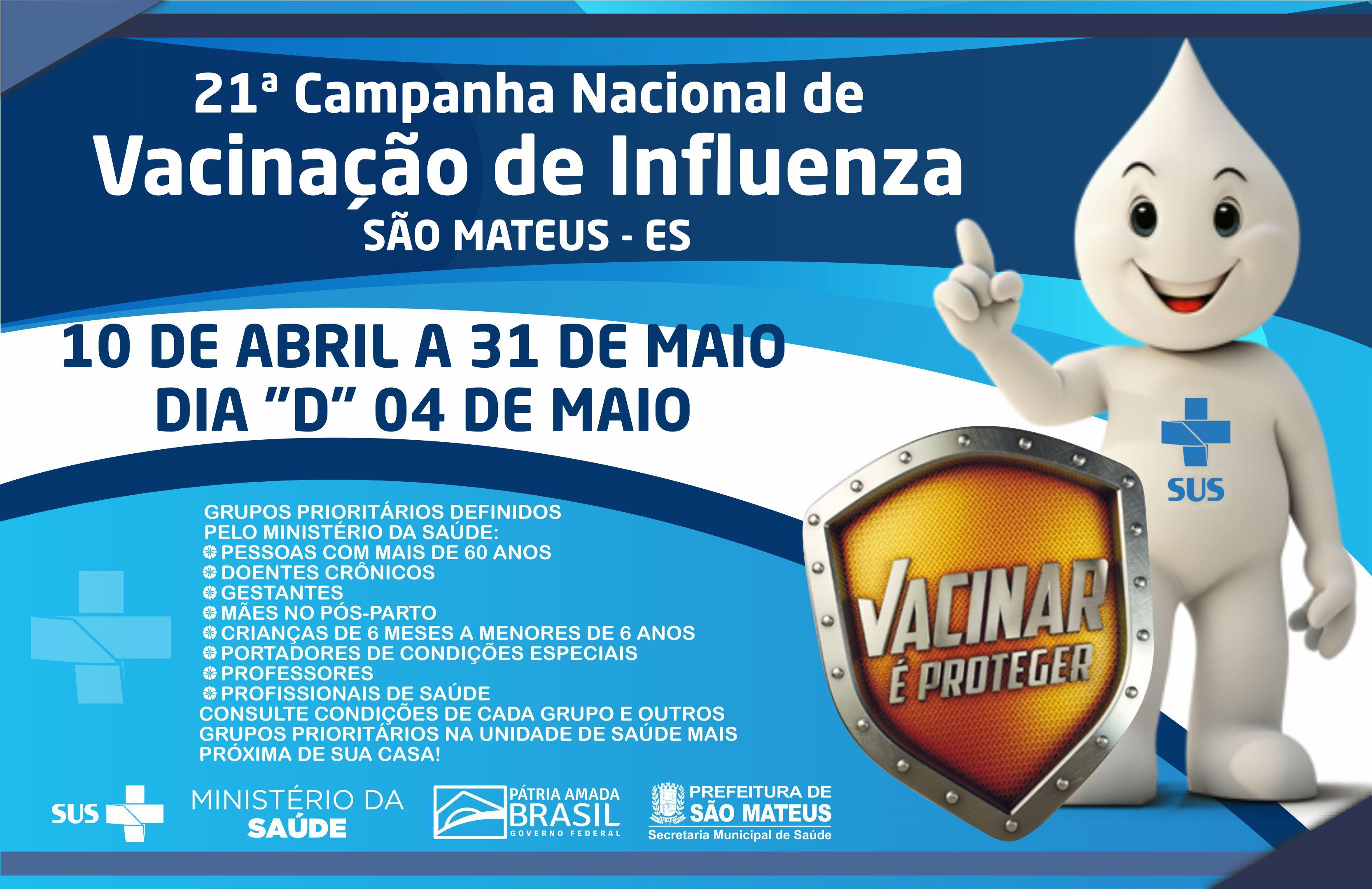 CAMPANHA NACIONAL DE VACINAÇÃO CONTRA A INFLUENZA (10 DE ABRIL A 31 DE MAIO)