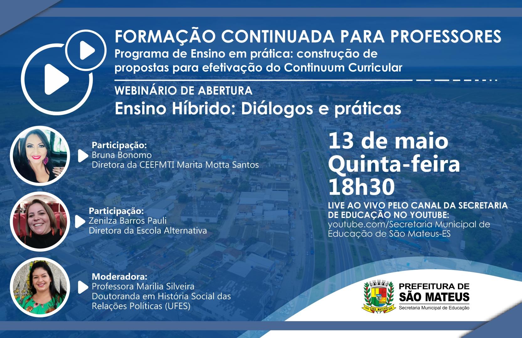 PREFEITURA DE SÃO MATEUS ABRE INSCRIÇÕES DE FORMAÇÃO CONTINUADA PARA PROFESSORES DA REDE