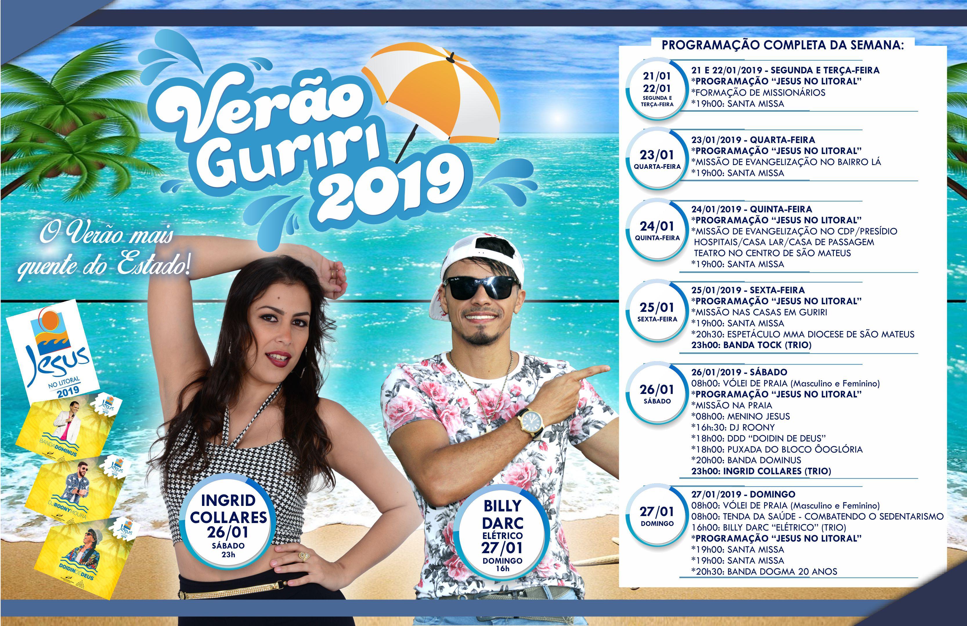 Verão Guriri 2019 - Confira a Programação Completa da Semana