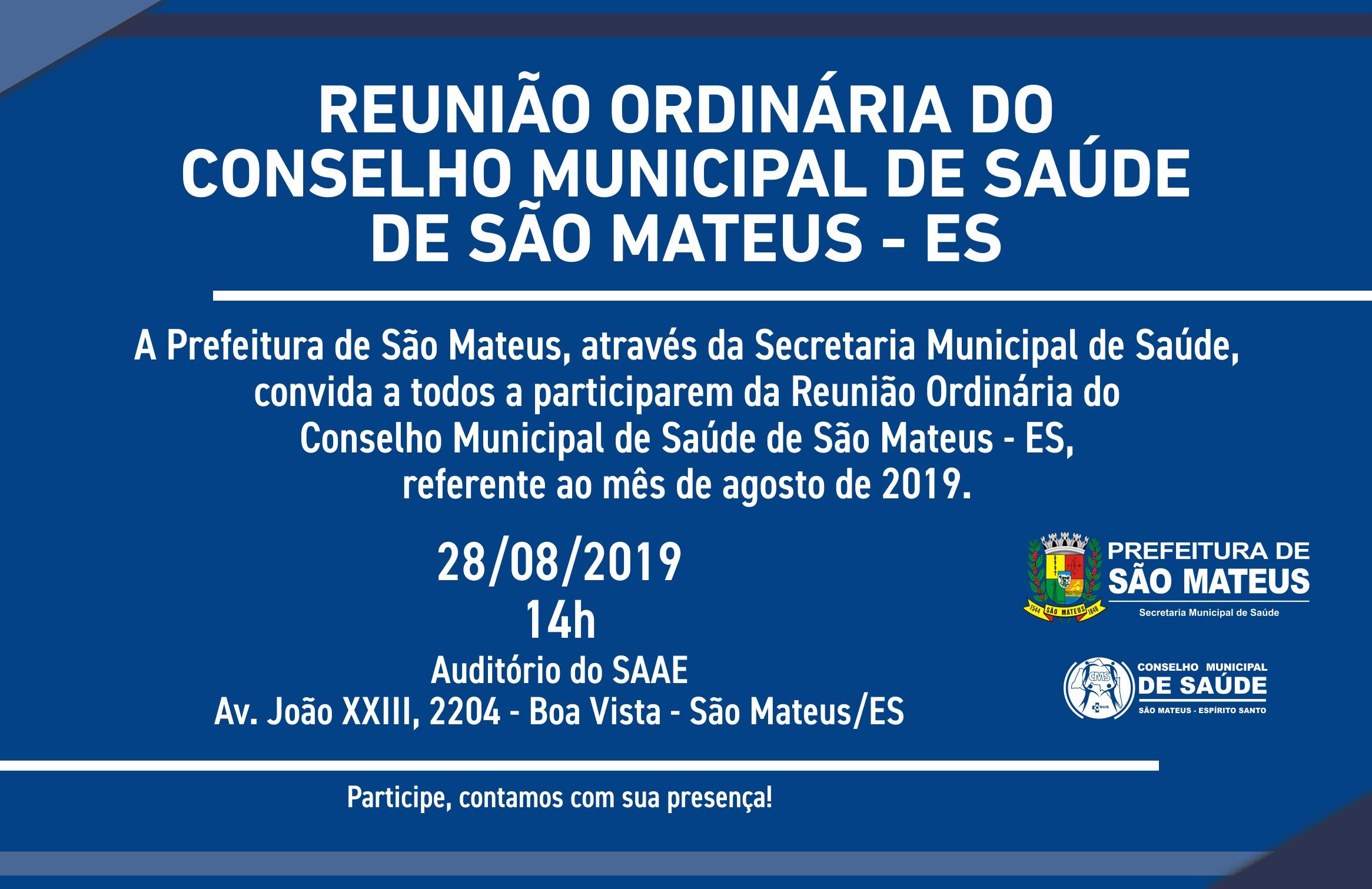 REUNIÃO ORDINÁRIA DO CONSELHO MUNICIPAL DE SAÚDE DE SÃO MATEUS - ES