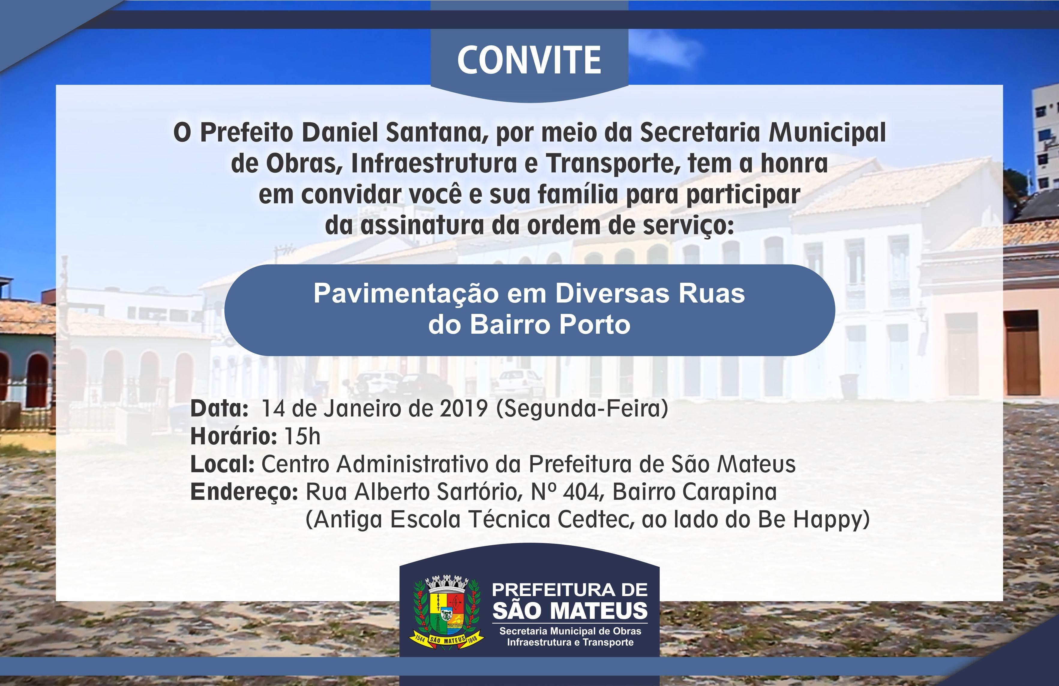 PMSM Convida a todos para Assinatura de Ordem de Serviço de Pavimentação de Diversas Ruas do Bairro Porto