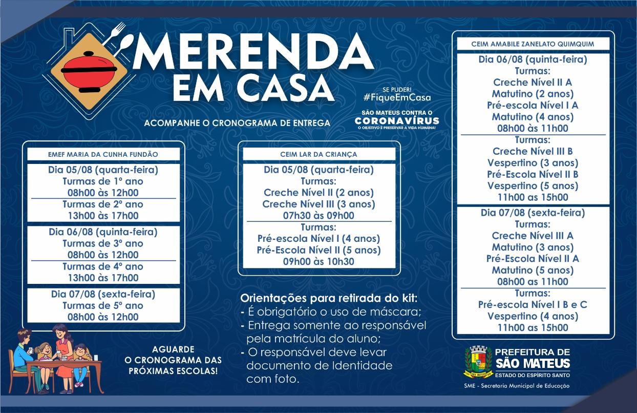 SEGUNDO CRONOGRAMA: PREFEITURA DE SÃO MATEUS INICIA NOVA ETAPA DE ENTREGA DA CESTA MERENDA EM CASA