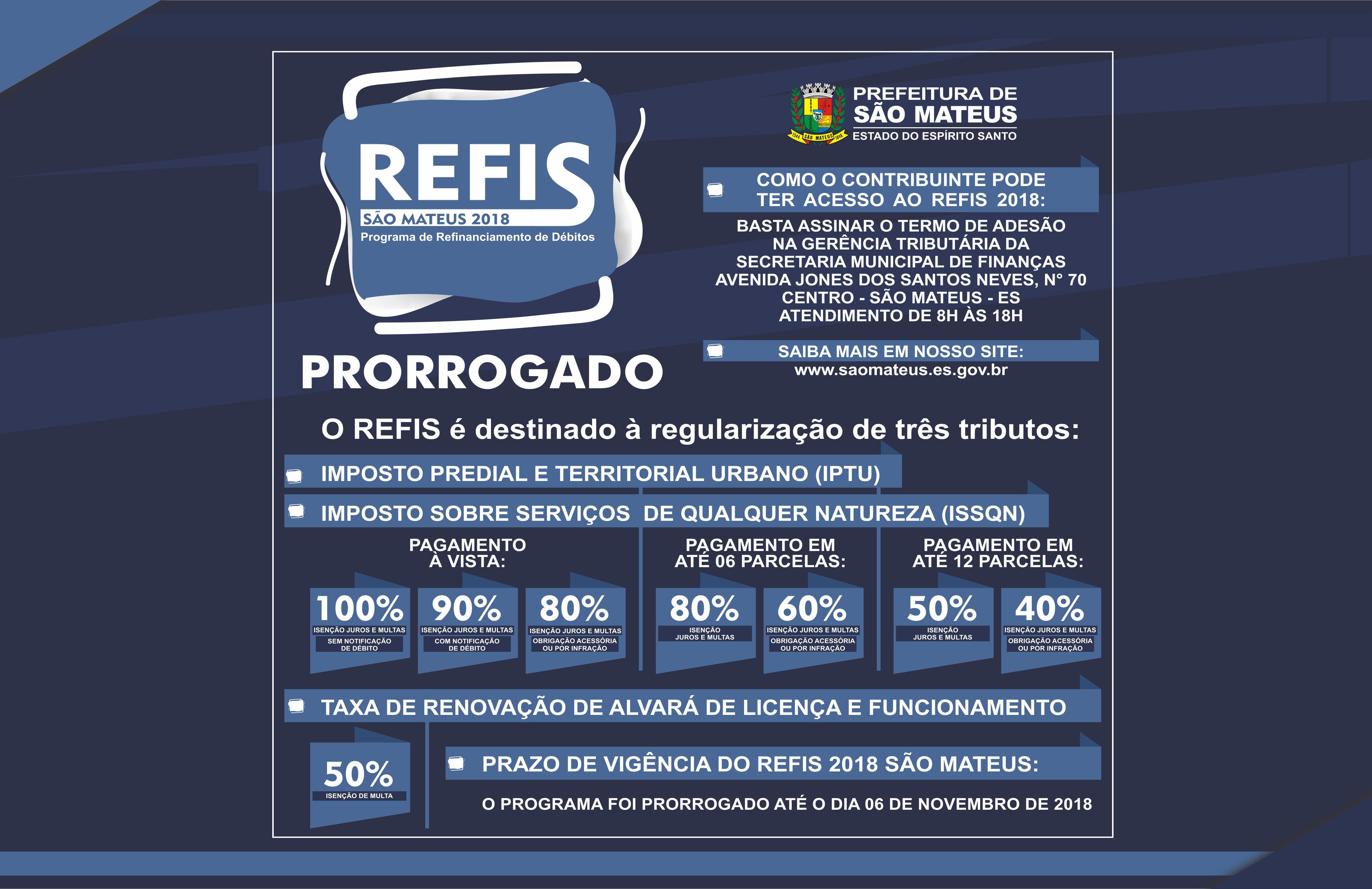 PRORROGADO O REFIS 2018