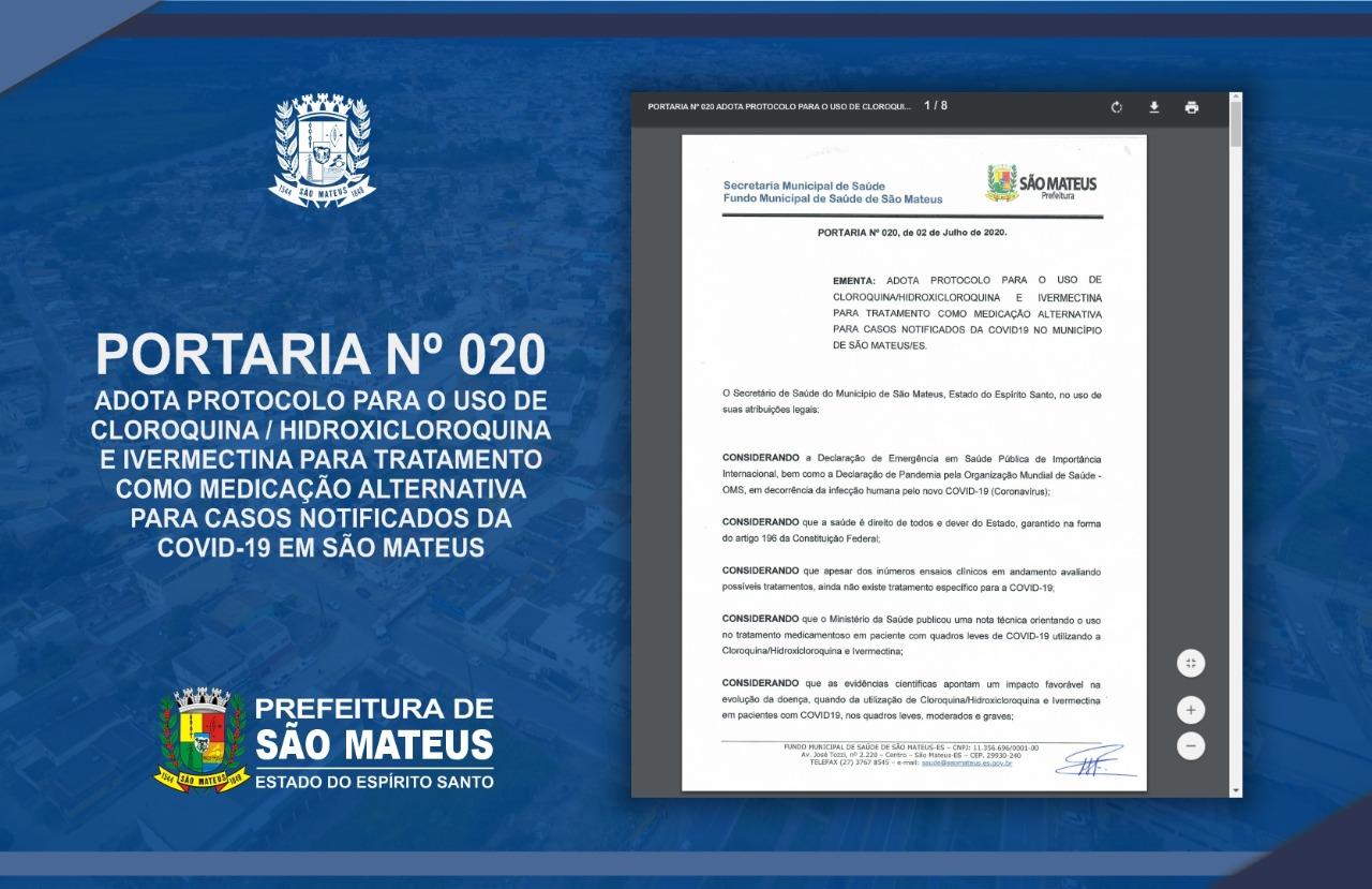 CORONAVÍRUS: SÃO MATEUS ADOTA PROTOCOLO PARA USO DE CLOROQUINA, HIDROXICLOROQUINA E IVERMECTINA