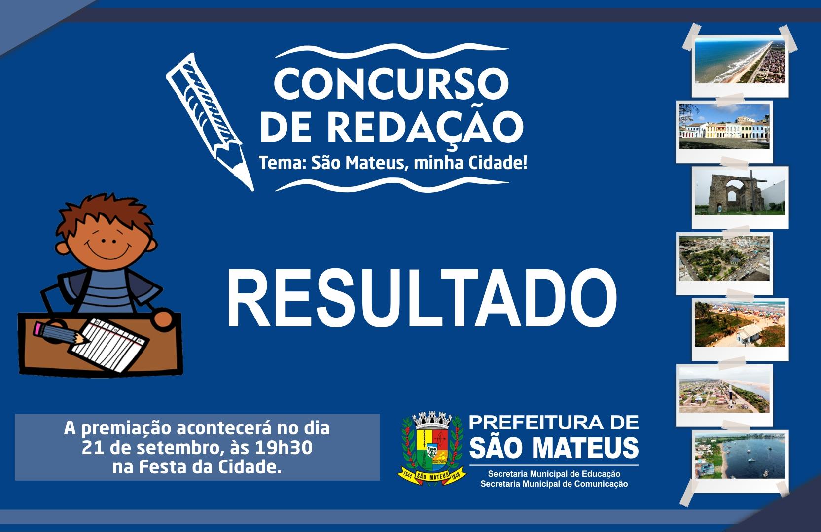 SÃO MATEUS MINHA CIDADE: CONFIRA O RESULTADO DO CONCURSO DE REDAÇÃO