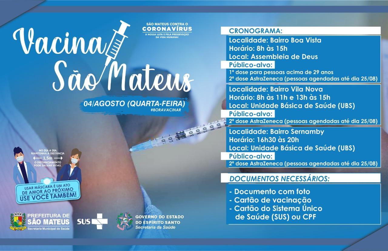 CONFIRA O CRONOGRAMA DE VACINAÇÃO CONTRA COVID PARA ESSA QUARTA-FEIRA (04/08)