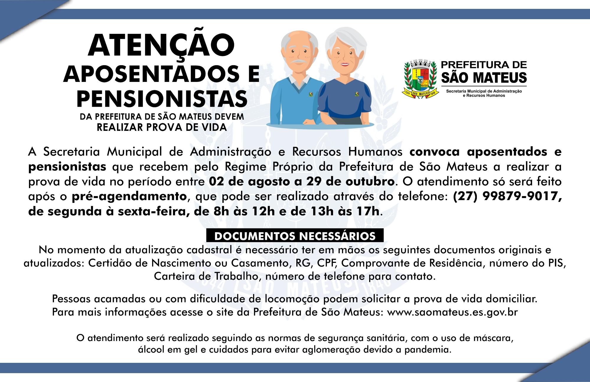 PREFEITURA CONVOCA APOSENTADOS E PENSIONISTAS DO PODER EXECUTIVO MUNICIPAL PARA REALIZAR PROVA DE VIDA