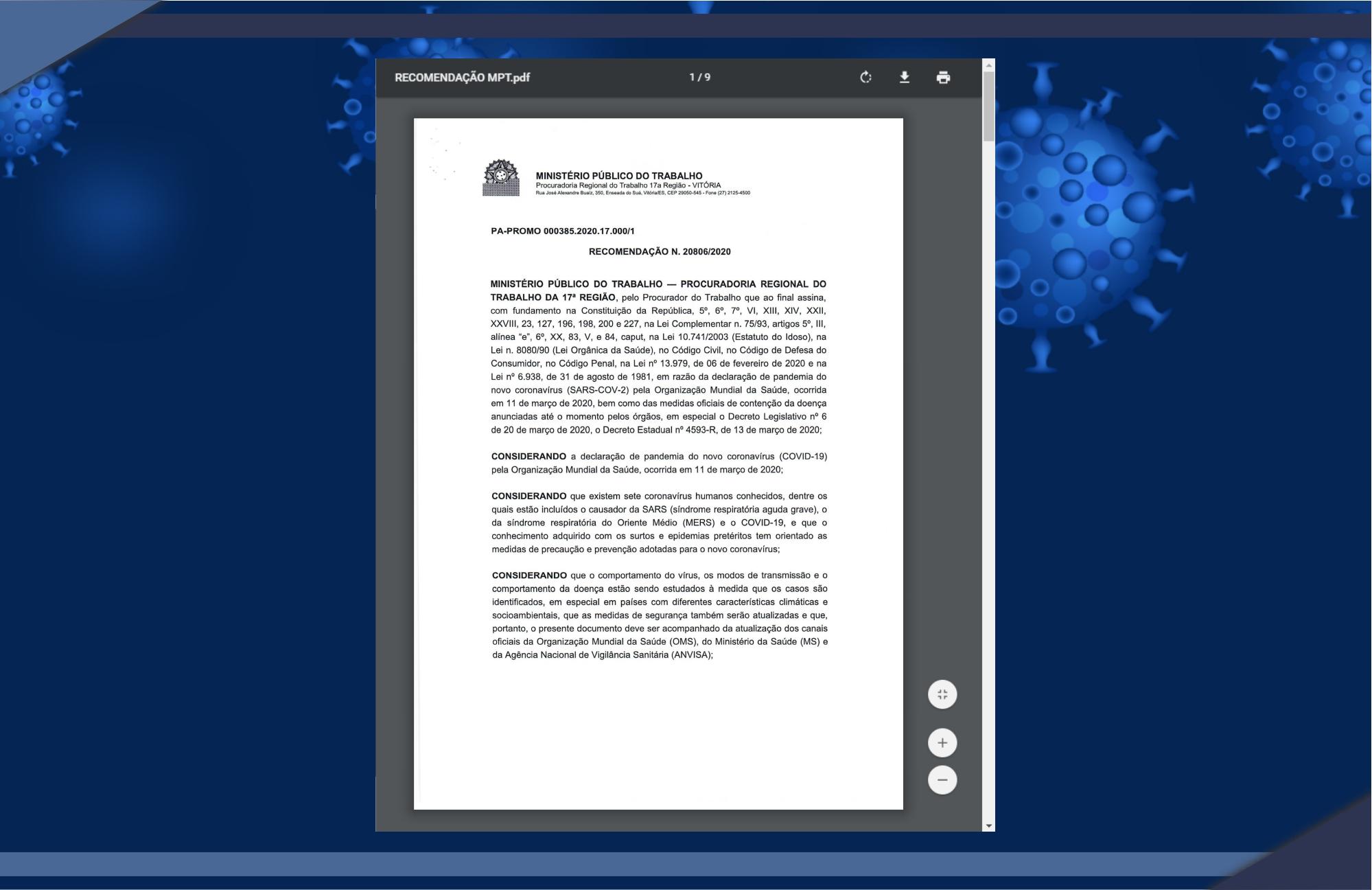 MINISTÉRIO PÚBLICO DO TRABALHO EXPEDE RECOMENDAÇÕES ÀS EMPRESAS DE TRANSPORTE PARA O COMBATE AO CORONAVÍRUS