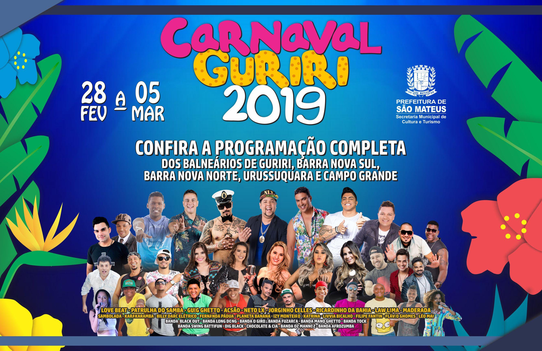 Carnaval Guiriri 2019: Prefeitura Divulga Programação Oficial do Carnaval de Guriri,  Barra Nova Sul, Barra Nova Norte, Urussuquara e Campo Grande