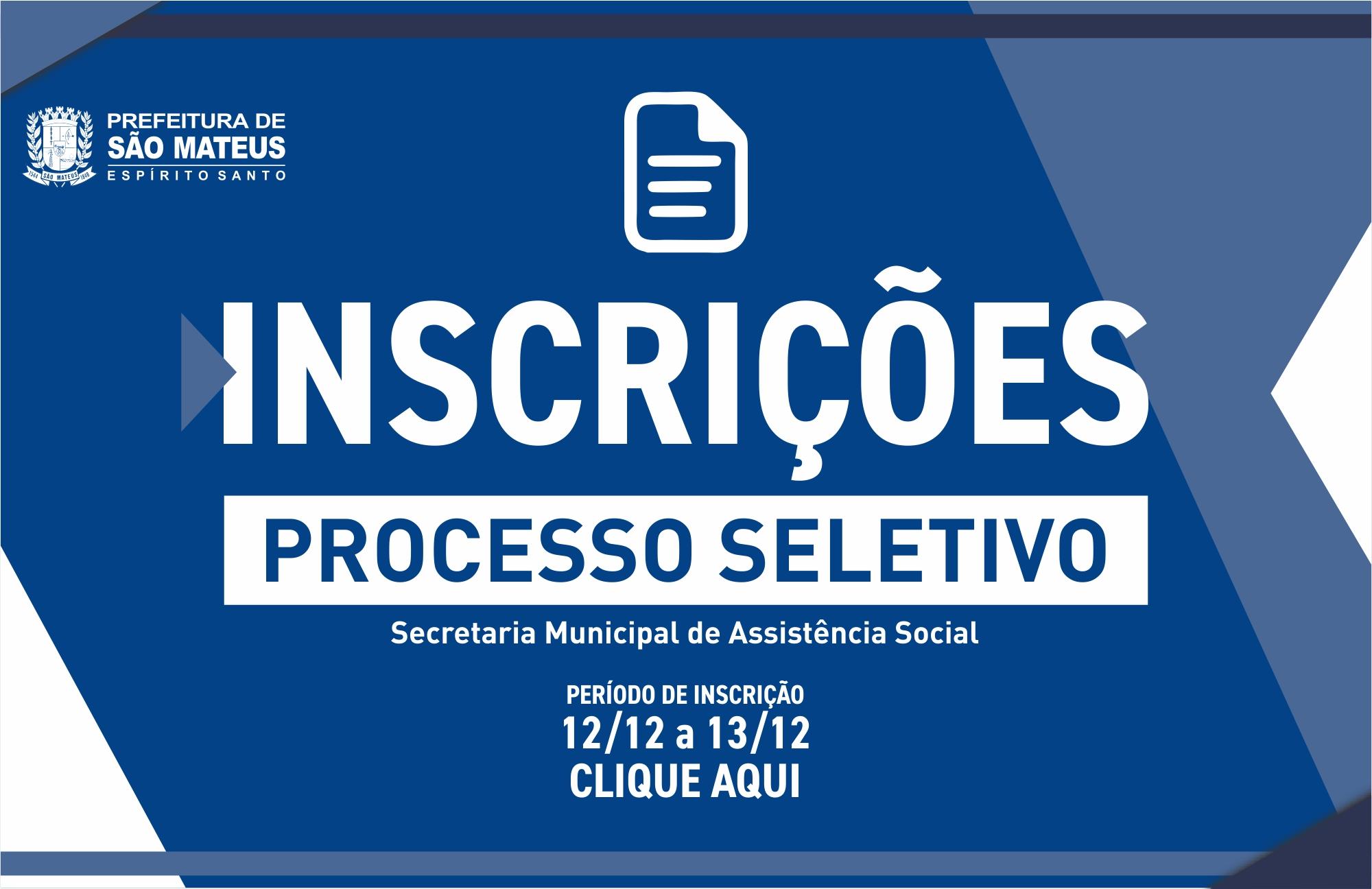 PREFEITURA DE SÃO MATEUS ABRE INSCRIÇÕES PARA O PROCESSO SELETIVO 2019 DO SUAS